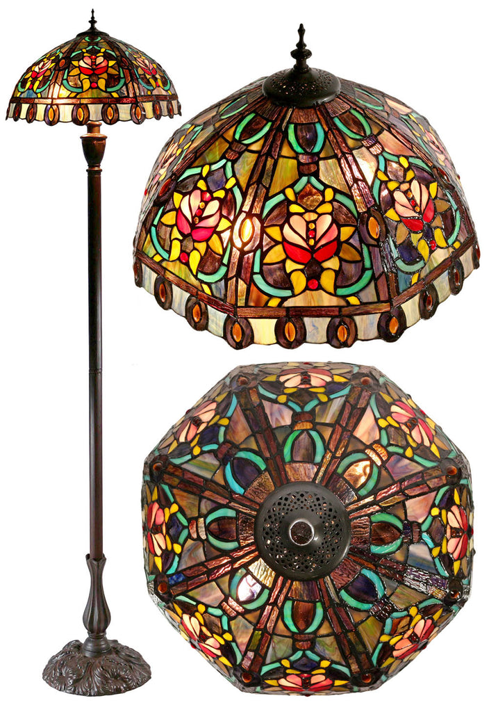Large Victorian Style Flower Pattern  Stained Glass Tiffany Floor Lamp