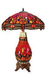 "Large 18"" Red Traditional Dragonfly  Tiffany Table Lamp with Lighted Base"