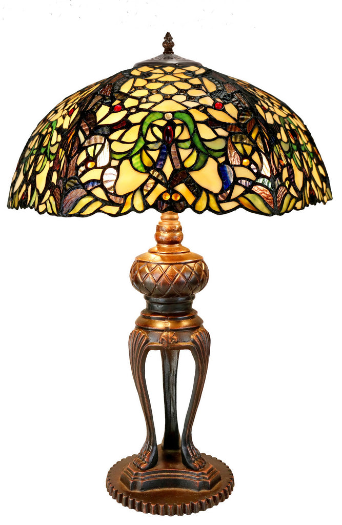 Limited Edition@Large Victorian Style Tiffany Reproduction Traditional Flower Leaf Table Lamp