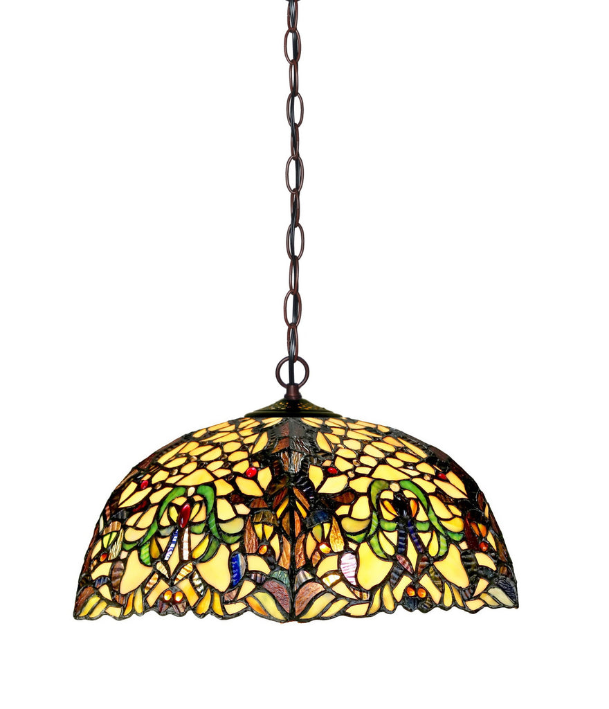 "Large 18"" Wisteria Style Stained Glass Tiffany Hanging Light"