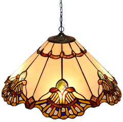 "Large 20 "" Beige Baroque Style Tiffany  Pendant Light"