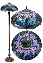 "Huge 20"" Blue Dragonfly Tiffany Floor Lamp"