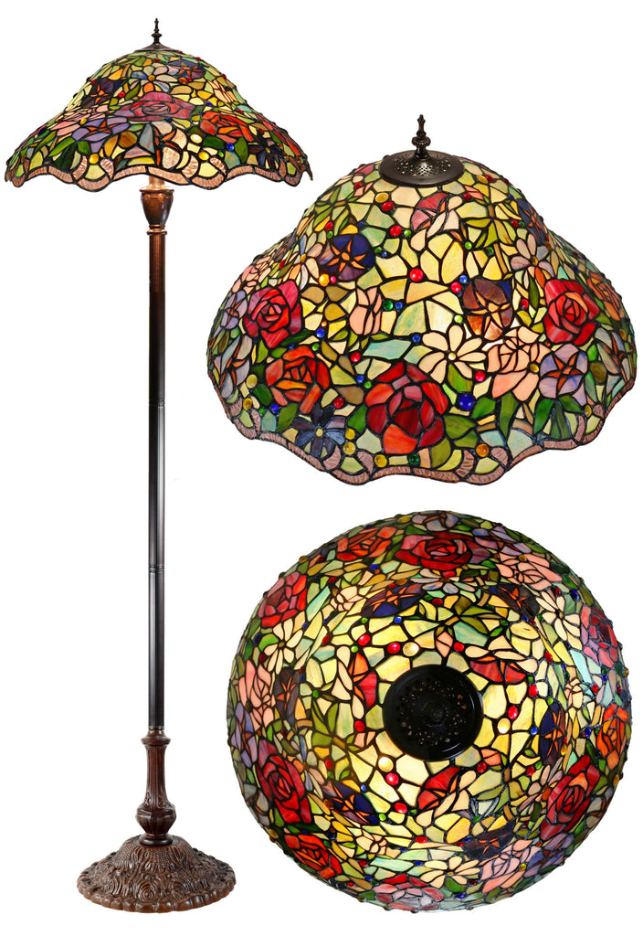 "Hugh 22"" Blooming Flowers Rose Daisy Morning Glory Stained Glass Tiffany Floor Lamp"