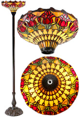 "14""  Red Tulip Style Tiffany Floor Torchiere Lamp"