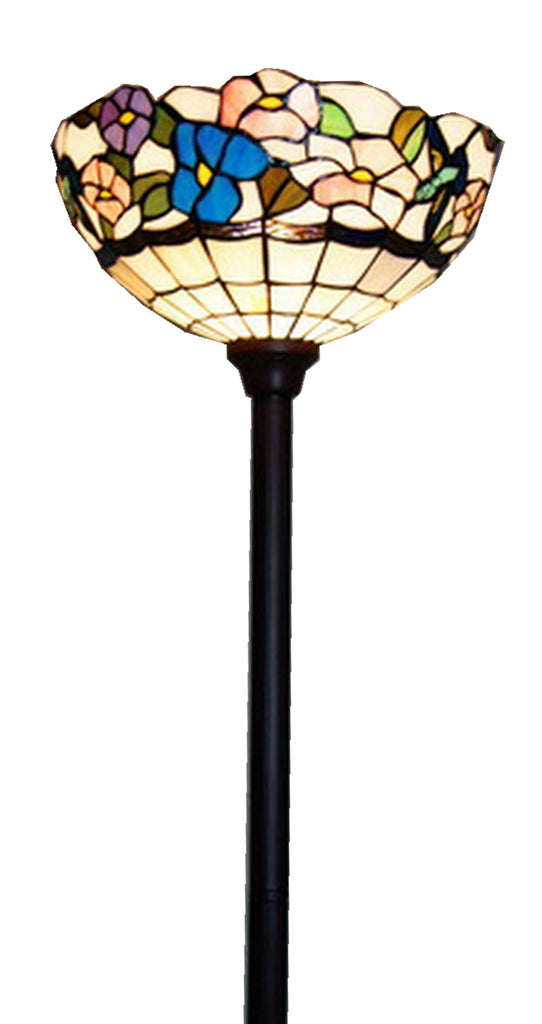 "14""  Morning Glory Flower Style Tiffany Floor Torchiere Lamp"