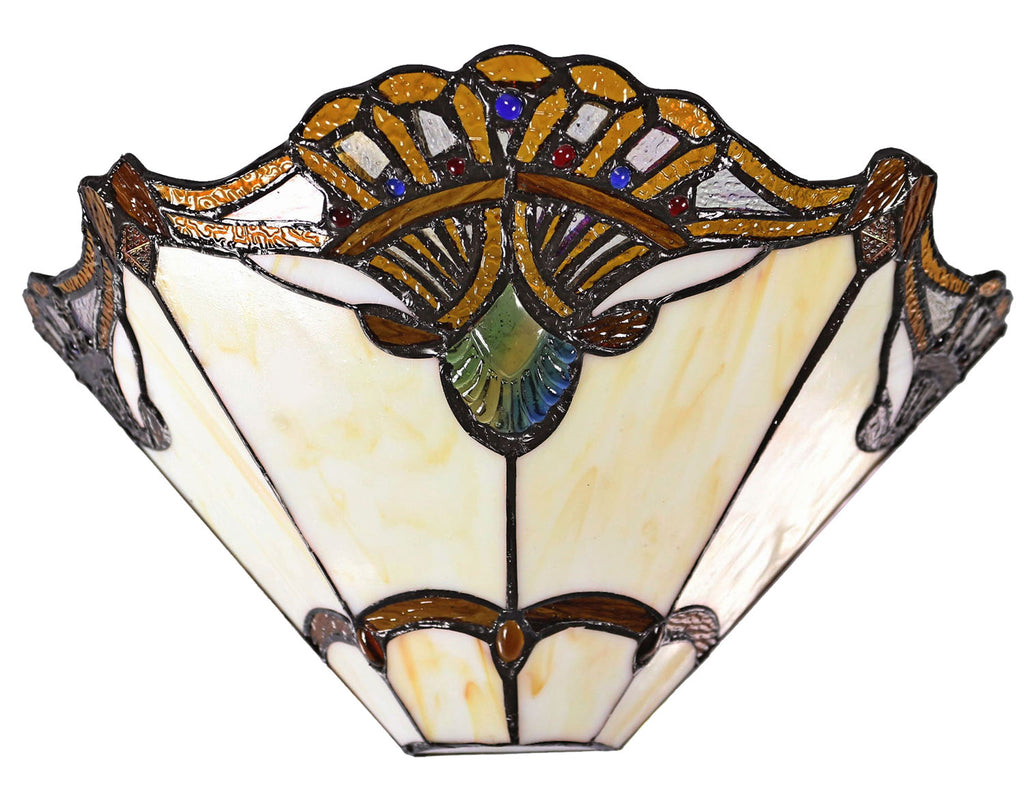 Beige Jewel Carousel Style  Stained Glass Tiffany Wall Light Wall Scone