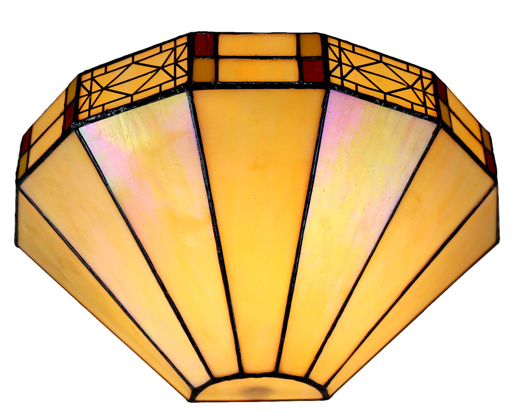 Ivory white  Mission Stained Glass Tiffany Wall Light  with  Double Intricate Filigree Accent