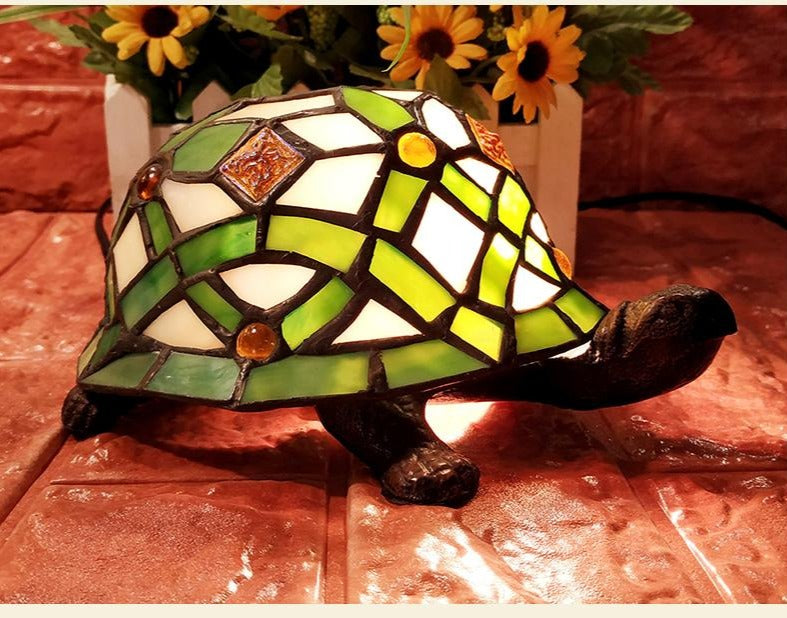 Green Turtle Tiffany Leadlight Art Deco Stained Glass Accent Lamp