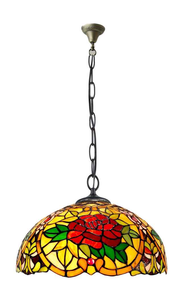 "Large 16"" Camellia Style Stained Glass Cafe Tiffany Hanging Light"