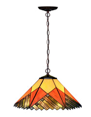"Large 16"" Misson Style Stained Glass Tiffany Hanging Light"