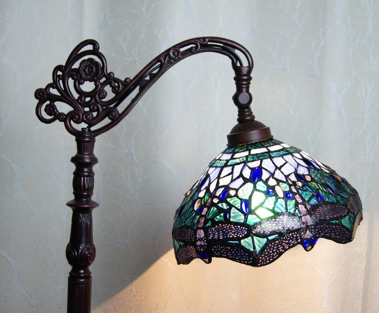 Blue Dragonfly Style Leadlight Stained Glass Bridge Arm Tiffany  Floor Lamp