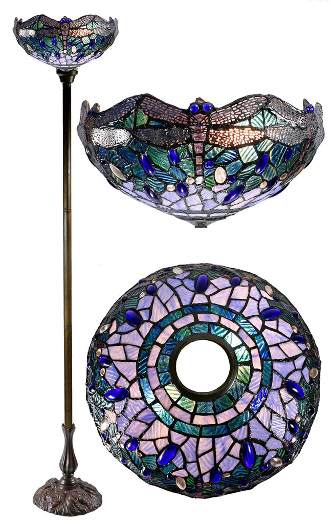 "14""  Blue Dragonfly Style Tiffany Floor Torchiere Lamp"