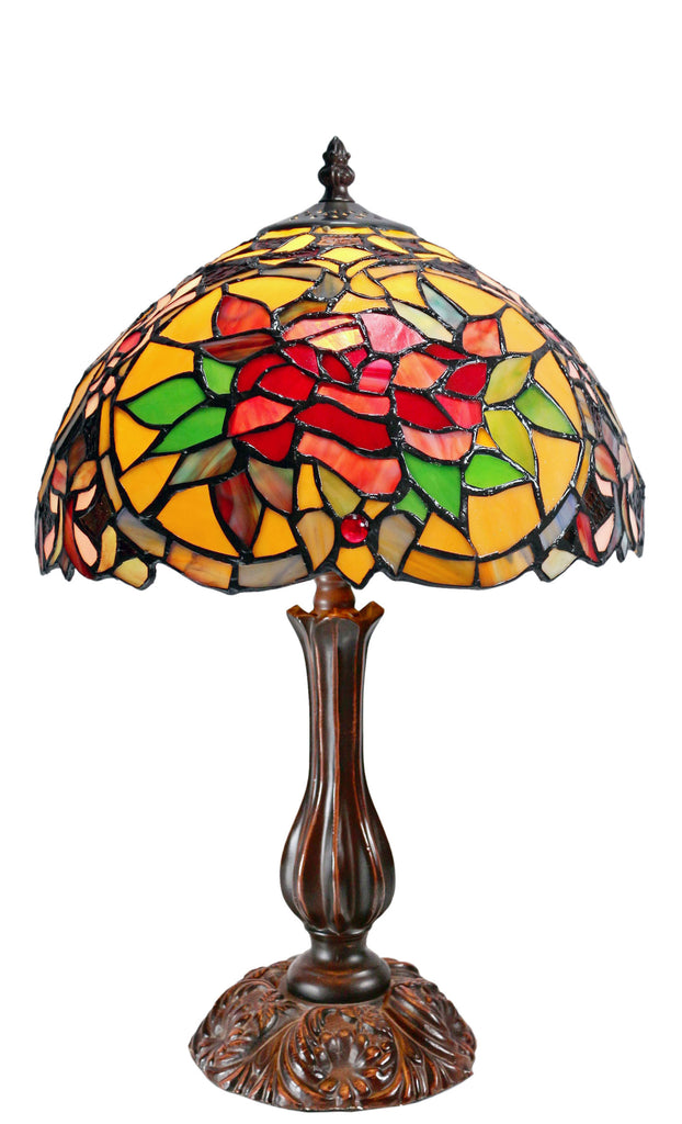 "12"" Red Camellia Tiffany-Style Bedside Lamp"