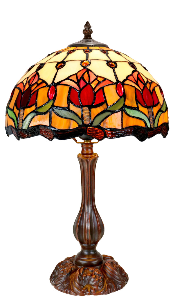 "12"" Red Tulip Style Tiffany Bedside Lamp"
