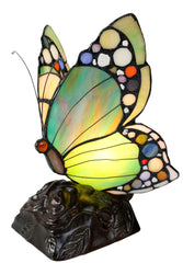 Elegant Green Butterfly  Tiffany Leadlight Stained Glass Art Deco Table Lamp