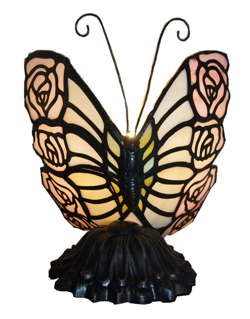 Vivid Pink Butterfly  Tiffany Leadlight Stained Glass Art Deco Lamp