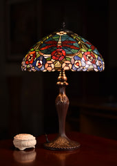 "16"" Traditional Dragonfly Floral Tiffany Table Lamp"