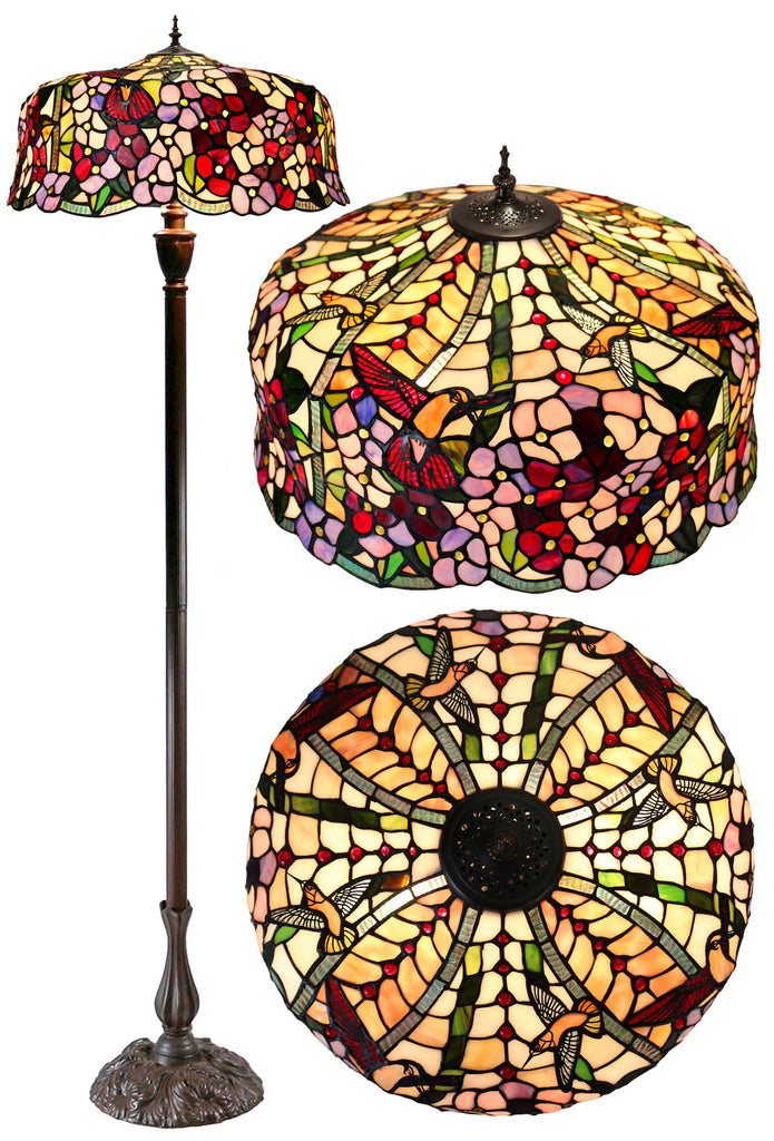 "Hugh 20"" Hummingbird Flower Apple Blossom Stained Glass Tiffany Floor Lamp"