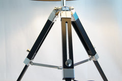 Limited Stock @Striking industrial style Tripod Table Lamp Black shade with Black wooden base