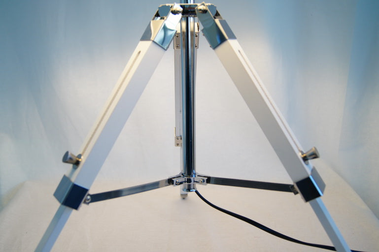 Limited Stock @Striking industrial style Tripod Table Lamp Beige shade with white wooden base