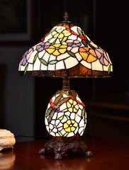 "12"" Traditional Dragonfly  Tiffany Table Lamp with Lighted Base"