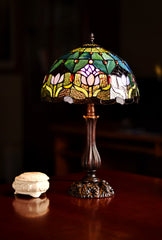 "12""  Tulip Style Tiffany Bedside Table  Lamp"