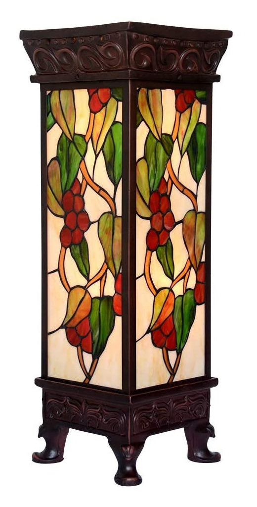 ONLY 1* Large SQUARE TIFFANY LAMP ART DÉCO Grape Stained Glass 2 Lights Floor Lamp