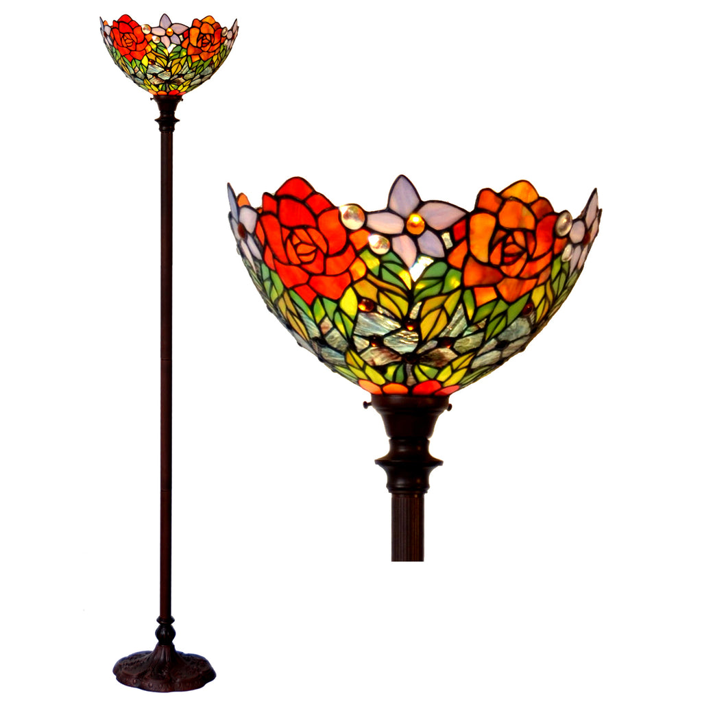 "14""  Red Rose Flower Style Tiffany Floor Torchiere Lamp"