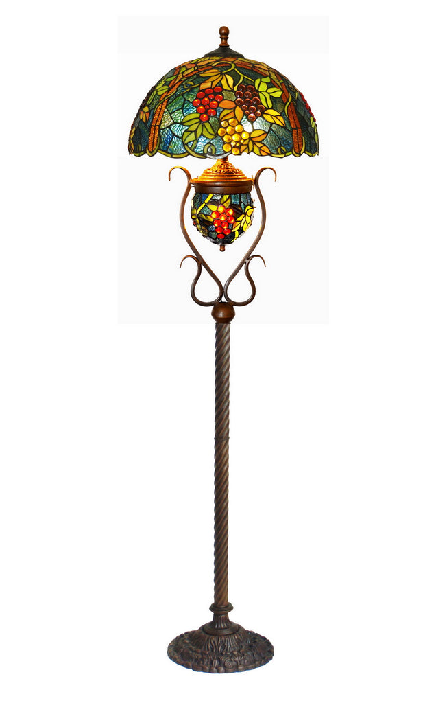 "Large 17"" Grape Style Double lits Tiffany Floor Lamp"