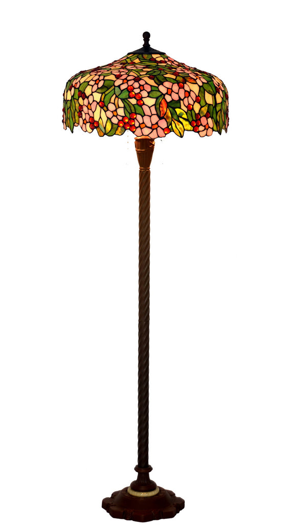 "Gorgeous Huge 20"" Apple Blossom Flower Tiffany Floor Lamp"