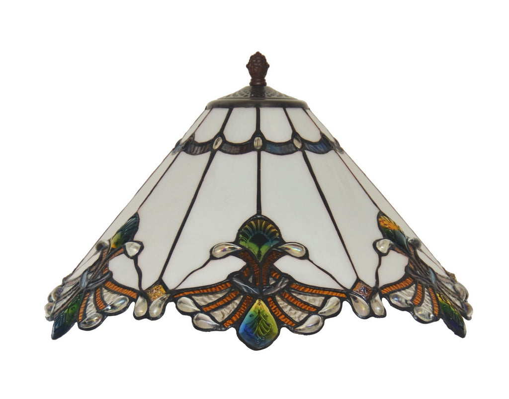 Large Jewel Carousel White  Stained Glass Tiffany Floor Lamp