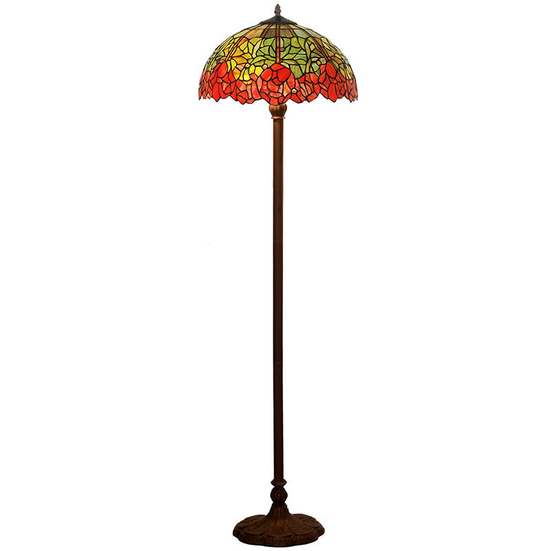 "Large 16"" Water Lily Style Stained Glass Tiffany Floor Lamp"