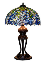 Only 1 left@Huge Tiffany Reproduction  Traditional Blue Wisteria Leaf Table Lamp
