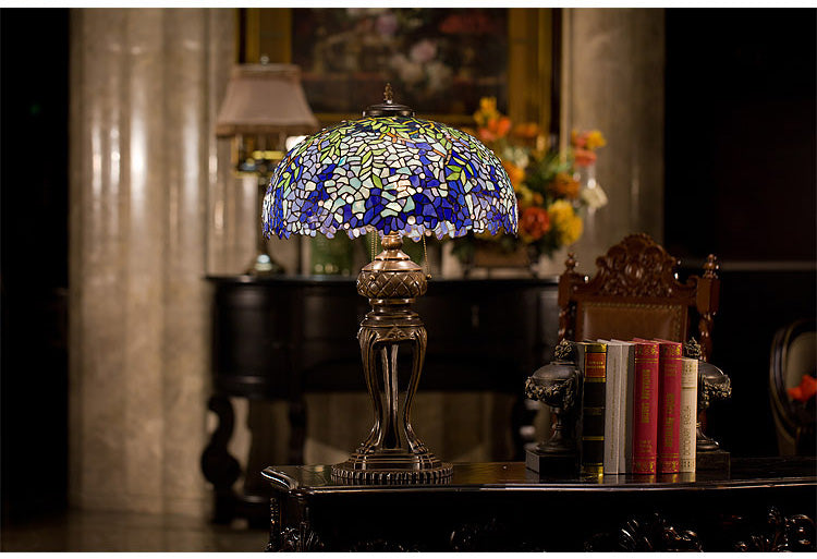 Huge 20 inches Wide Tiffany Reproduction Traditional Blue Wisteria Leaf Table Lamp