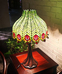 Tiffany Reproduction Traditional Peacock Feather Tiffany Table Lamp With deco Base@Limited Edition