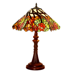 "Large 16""  Wisteria Flower Stained Glass Tiffany Table Lamp"