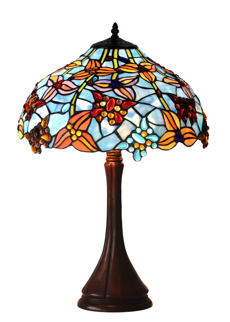 "Large 17""  Wisteria Flower Stained Glass Tiffany Table Lamp"