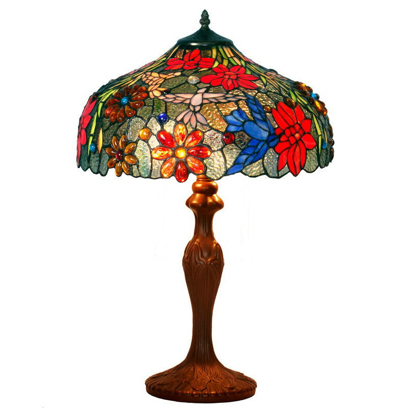 "Large 16""  Hummingbird over Flowers  Tiffany Table Lamp"