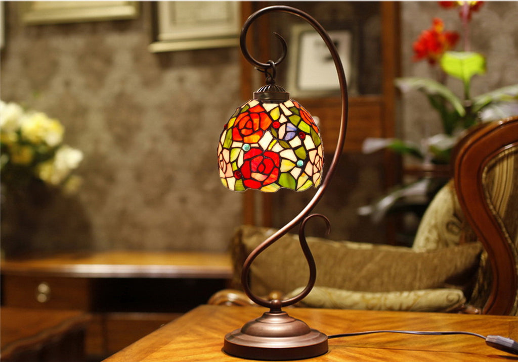 Elegant Rose Tiffany Accent Table Lamp
