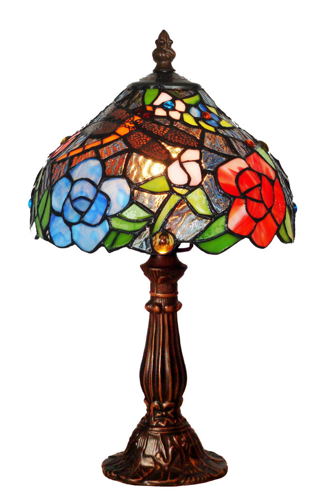 "Classical 8"" Dragonfly Flower Tiffany Mini Table Lamp"