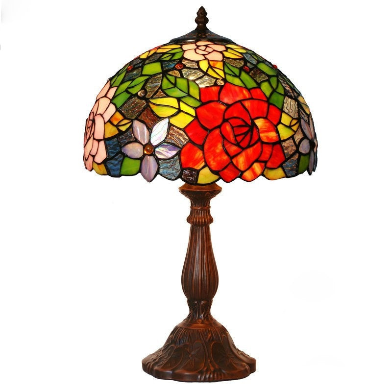 "12"" Flower Style Tiffany Bedside Lamp"
