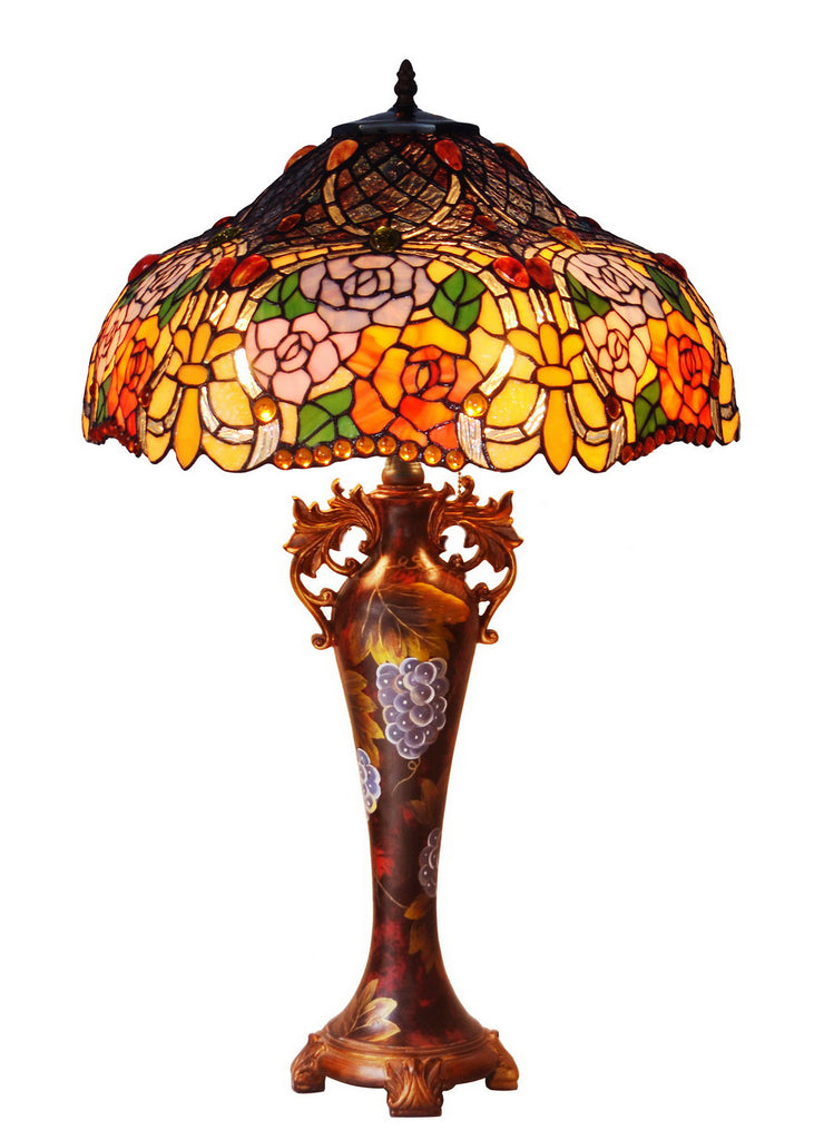 "Limited Edition@Huge 18""(46cm wide )Rose Style Tiffany Table Lamp"