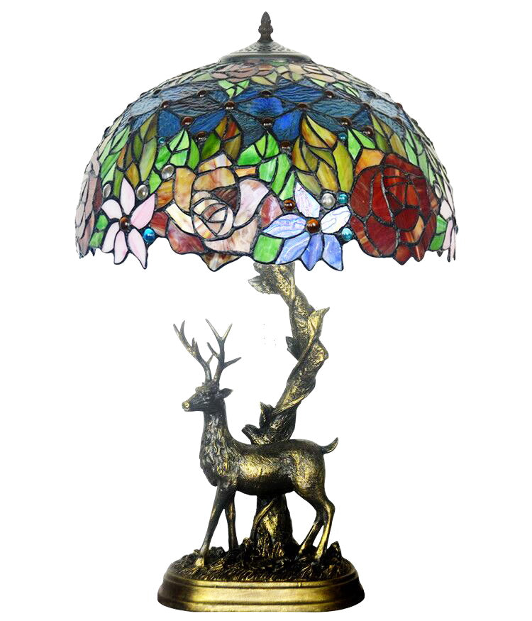 "16"" Large tiffany table lamp Blooming rose with Reindeer Sculpture Base"
