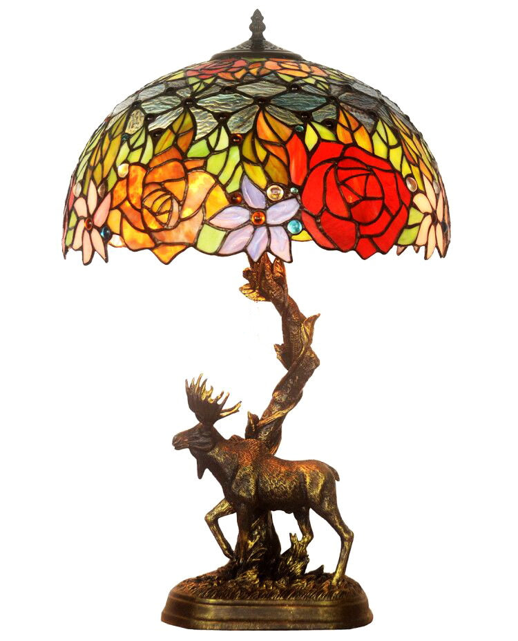 "16"" Large tiffany table lamp Blooming rose with Moose Sculpture Base"