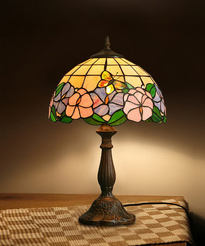 "12"" Butterfly Morning Glory Style Tiffany Bedside Lamp"