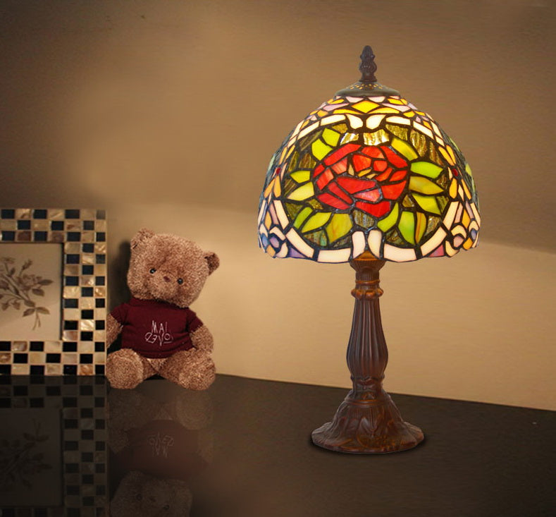 "Classical 8"" Rose  Tiffany Mini Table Lamp"