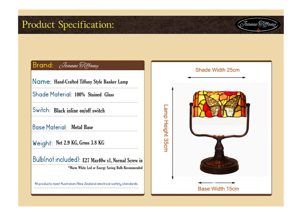 Butterfly Style Tiffany Banker Lamp