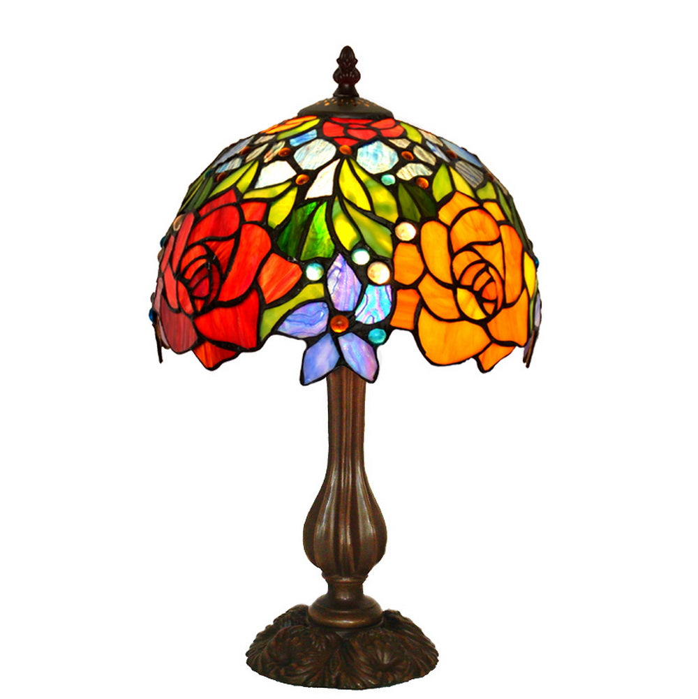 "Stunning 10"" Blooming Rose Style Tiffany Mini Table Lamp"