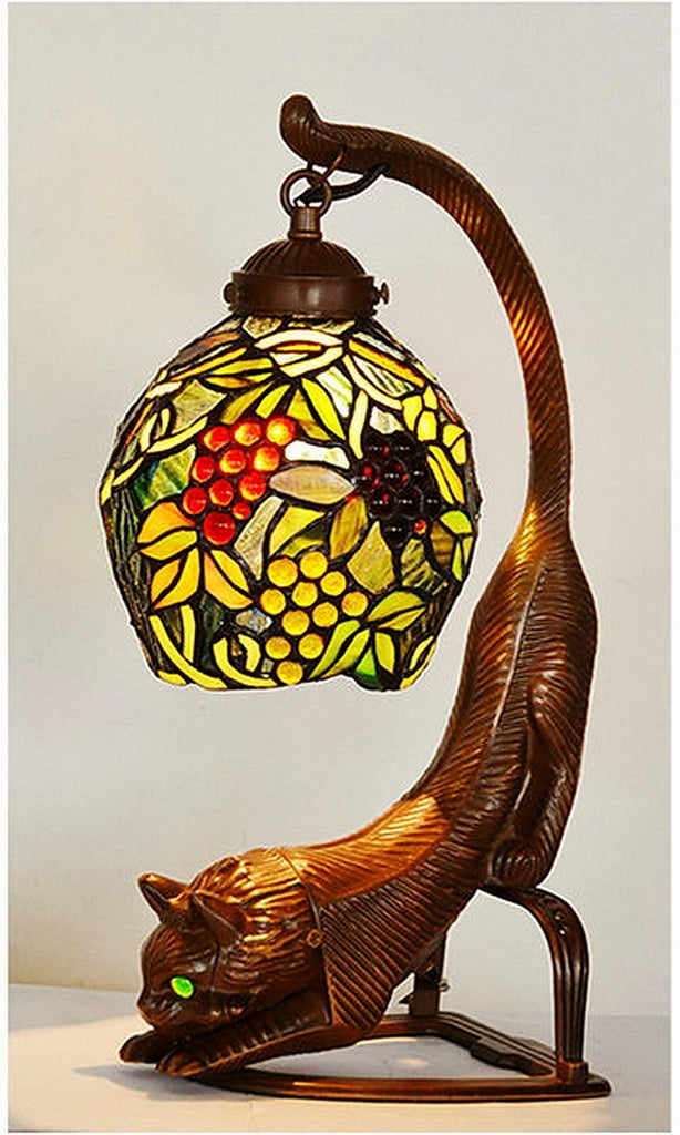 Cat Art Stained Glass Tiffany Grape pattern Table Desk Lamp Night Light eyes light up