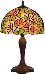 "12"" Pink Rose flower Style Tiffany Bedside Lamp"